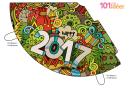 Multicolor Happy New Year 2017 Party Hat Template
