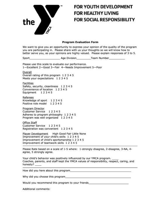 Program Evaluation Form printable pdf download