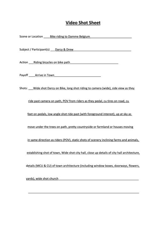 Video Shot Sheet Printable pdf