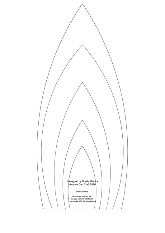 Large Flower Petals Template - Candle-Shaped A4 Printable pdf