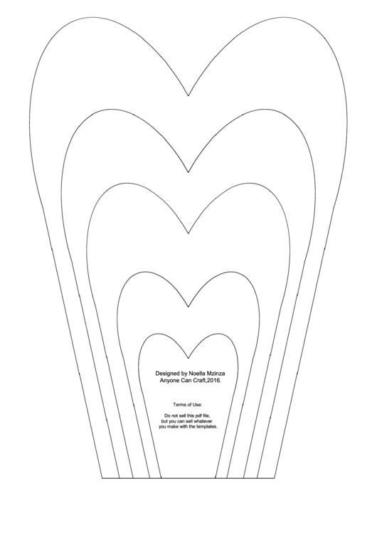 Large Flower Petals Template - Narrow Heart-Shaped Printable pdf