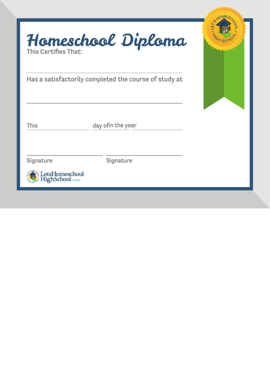 Homeschool High School Diploma Template Printable pdf