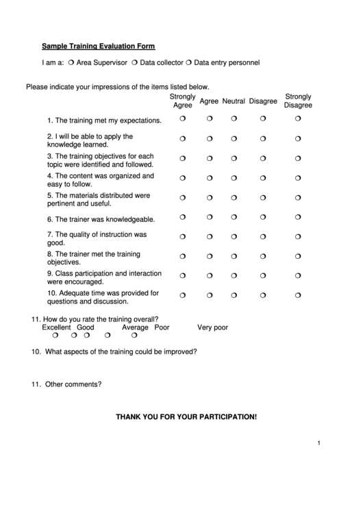 training evaluation questions pacqco – Sample Training Evaluation Form Example