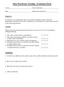 Data Warehouse Training Evaluation Form