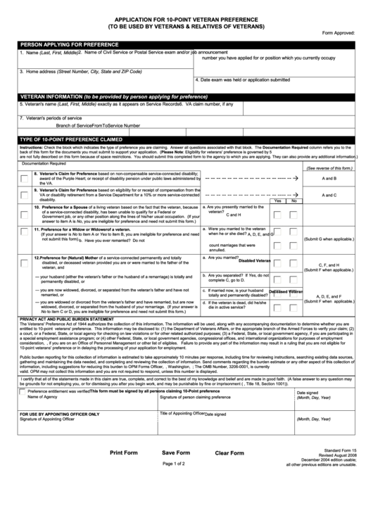 Printable Sf-15 form - Fill Out & Download Top Rental Forms in PDF ...