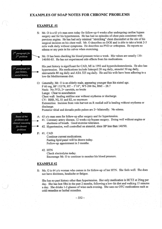 Examples Of Soap Notes For Chronic Problems Printable Pdf Download