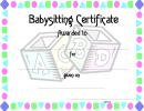 Babysitting Certificate Template