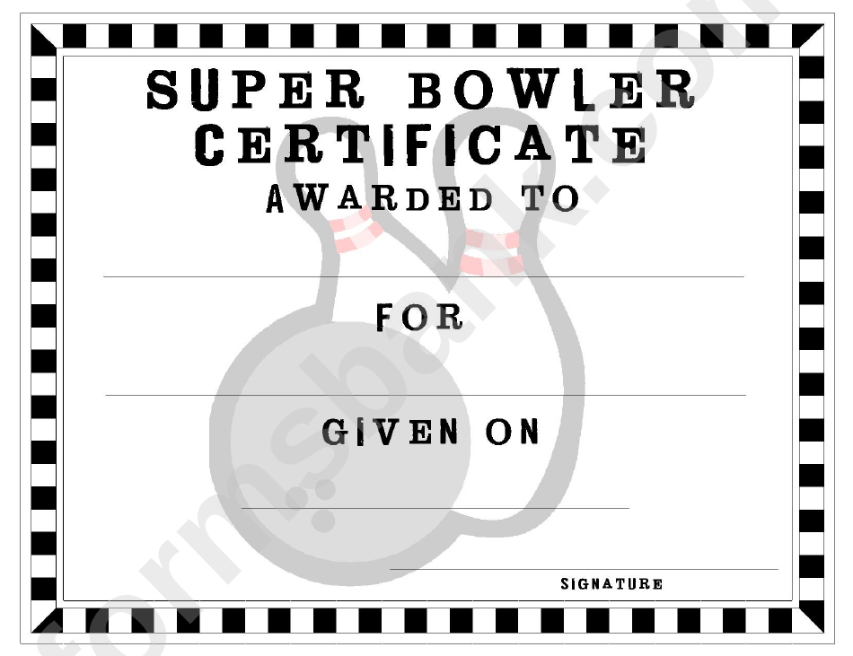 Bowling Certificate Template Printable Pdf Download