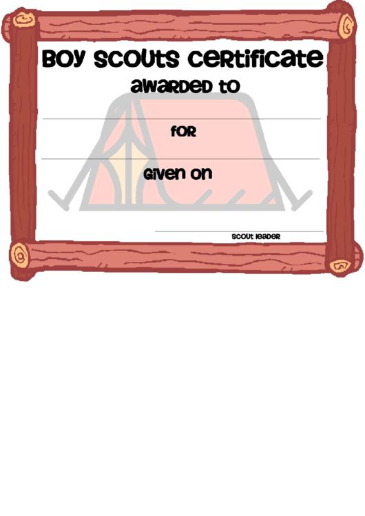 boy scouts certificate template