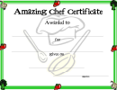 Amazing Chef Certificate Template