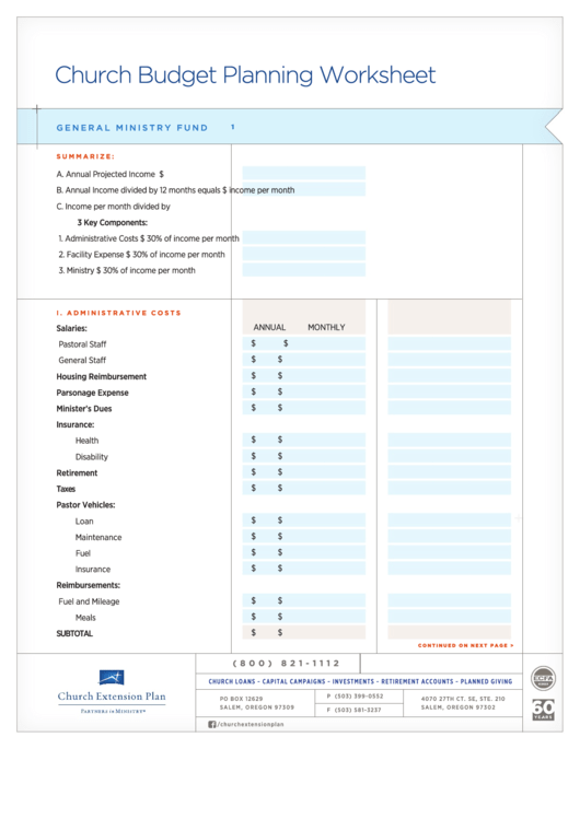 Fillable Church Budget Planning Worksheet Template ...