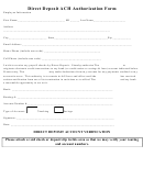 Direct Deposit Ach Authorization Form