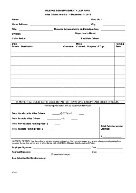 mileage reimbursement forms free