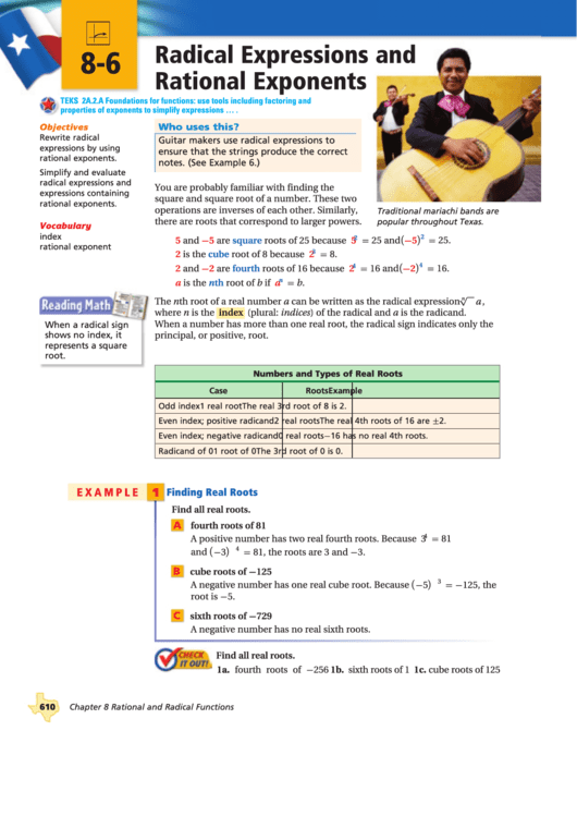 Radical Expressions And Rational Exponents Worksheet Printable Pdf