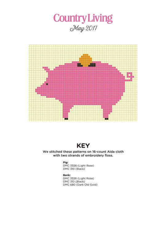 Cross Stitch Graph Paper Pig Printable pdf