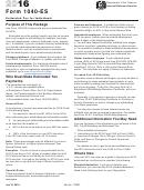 Form 1040-es - Estimated Tax For Individuals - 2016