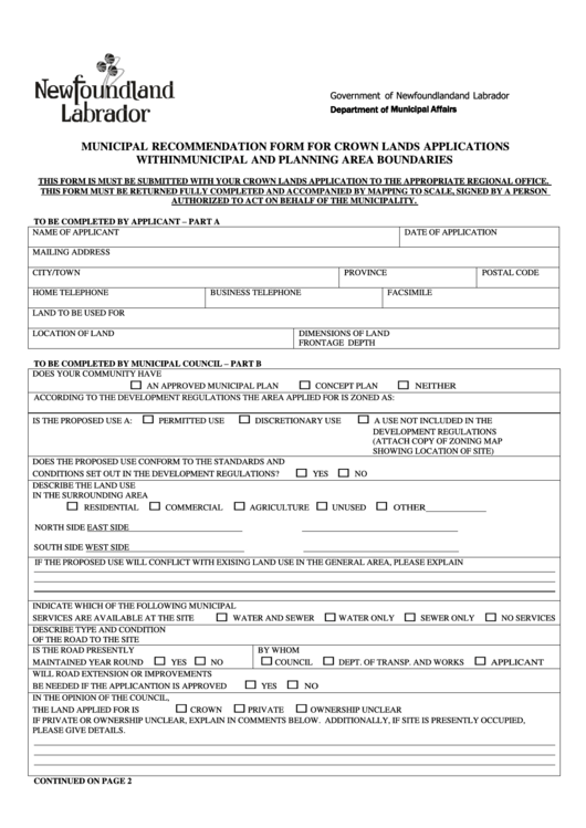 Municipal Recommendation Form Printable pdf