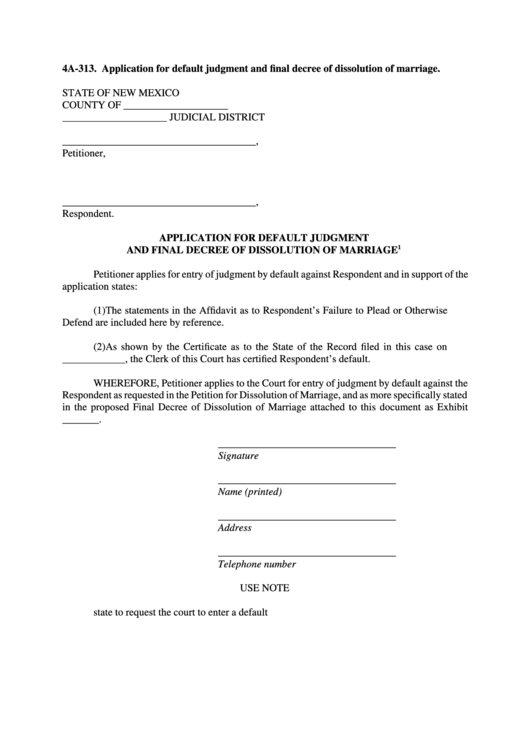 Fillable Application For Default Judgment And Final Decree Of Dissolution Of Marriage Printable pdf