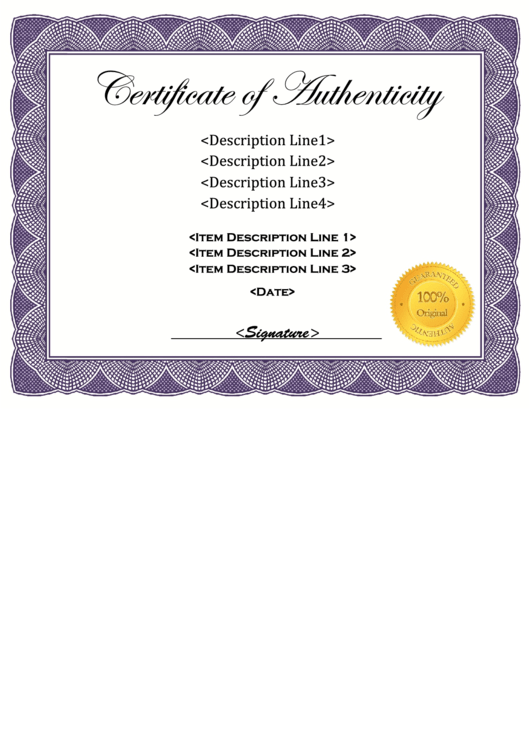 fillable certificate of authenticity printable pdf download