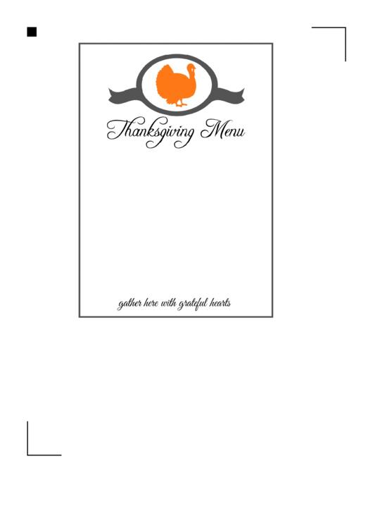 Thanksgiving Menu Template Printable pdf