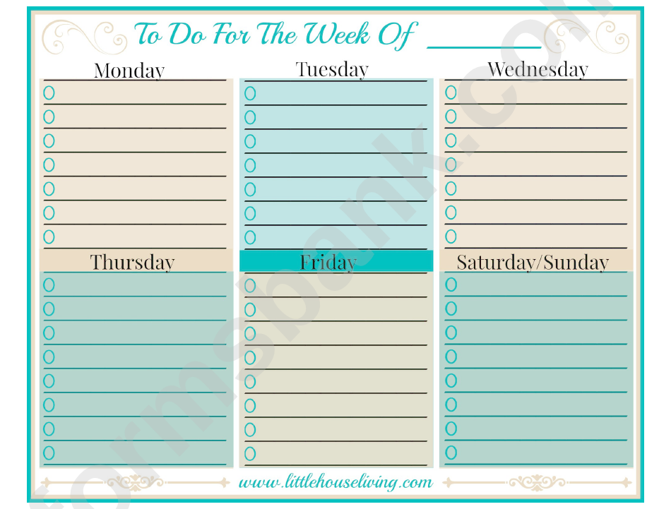 To Do For The Week Of