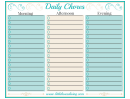 Daily Chore Chart For Morning, Afternoon And Evening