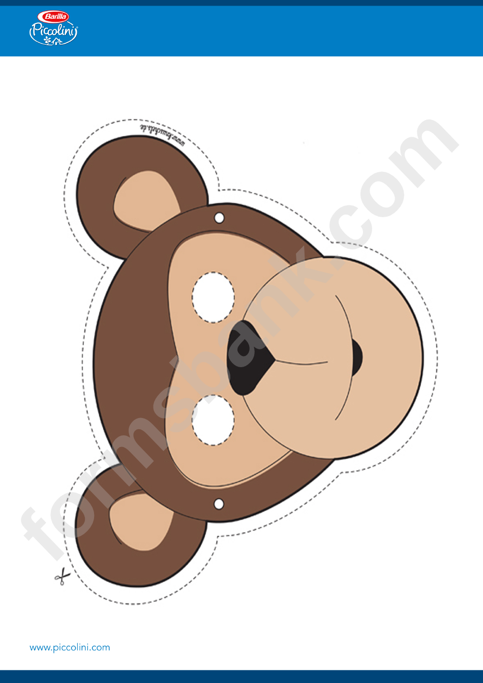 Monkey Mask Template printable pdf download