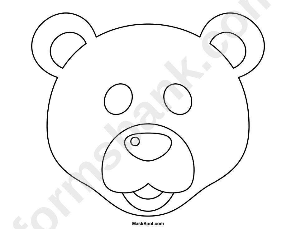 Bear Mask Template To Color printable pdf download