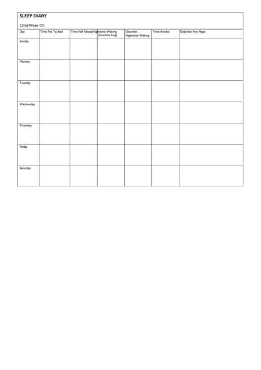 Sleep Diary Template Printable pdf