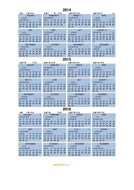 2014, 2015, 2016 Calendar Template
