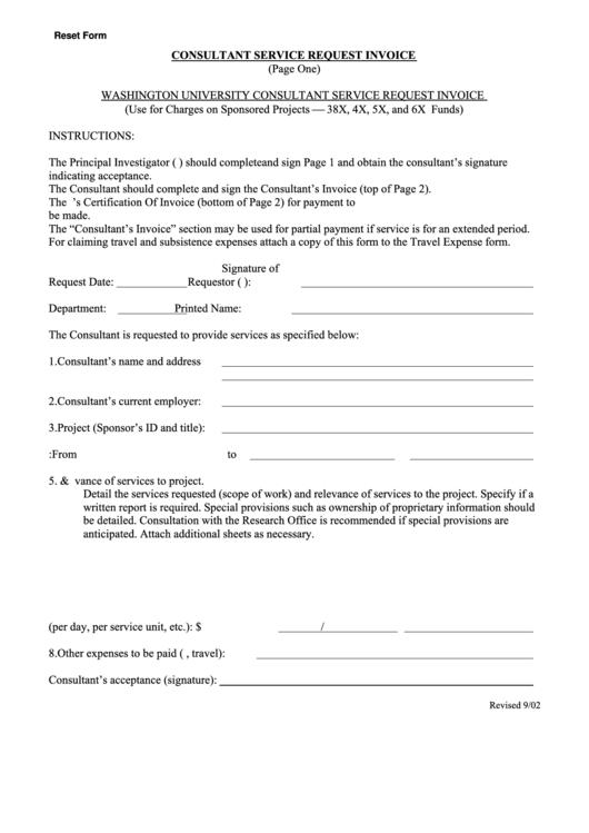 Consultant Service Request Invoice Template
