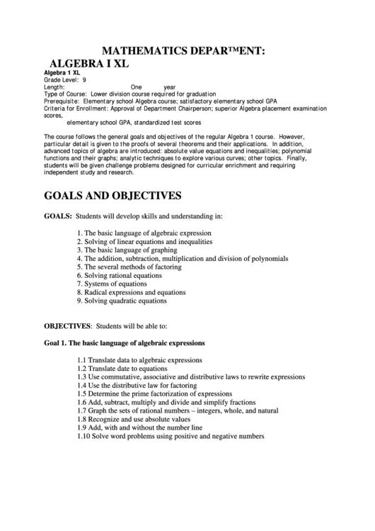 Algebra Curriculum printable pdf download