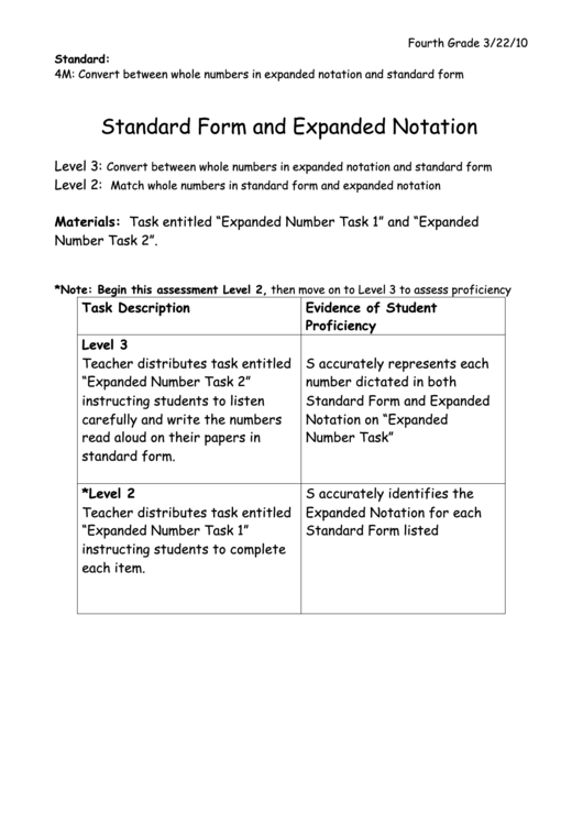 Standard Form And Expanded Notation