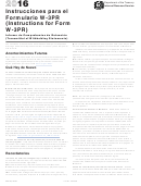 Instrucciones Para El Formulario W-3pr (instructions For Form W-3pr) - 2016