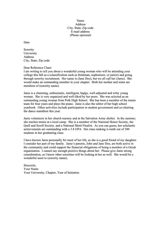 Sorority Letter Of Support Letter Template printable pdf ...