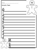 Gingerbread Man Acrostic Poem Writing Template
