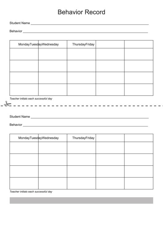 Behavior Charts For Home Printable pdf