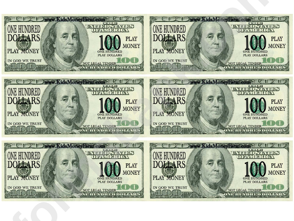 one hundred dollar bill play money template printable pdf download