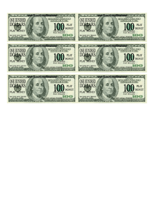 One Hundred Dollar Bill Play Money Template