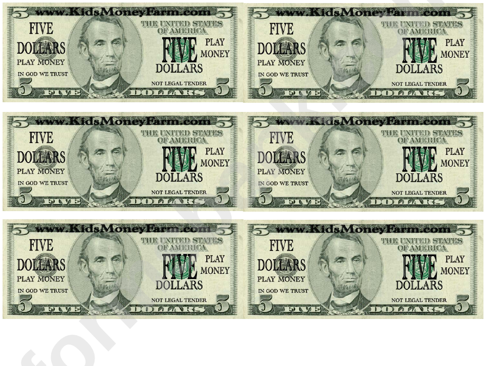 Five Dollar Bill Play Money Template Printable Pdf Download