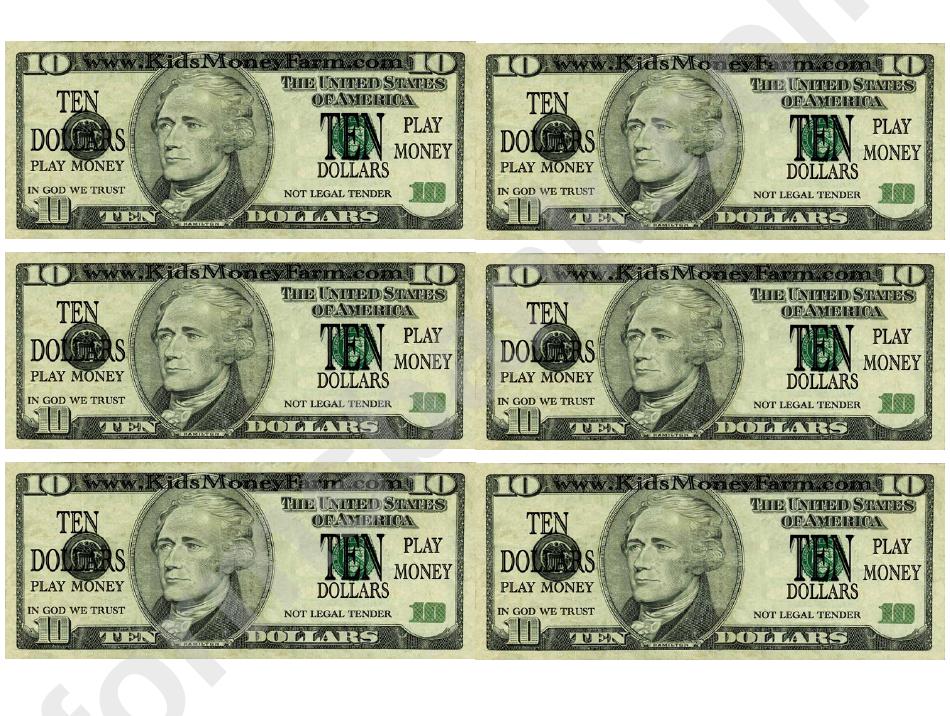 Ten Dollar Bill Play Money Template