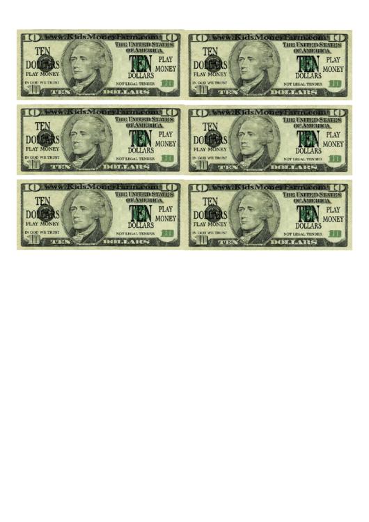 Free Bill Of Sale Template >> Ten Dollar Bill Play Money Template printable pdf download