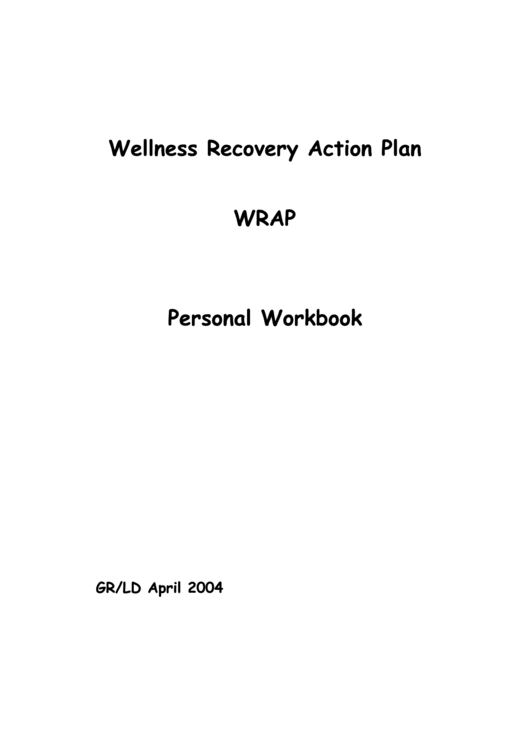 Wellness Recovery Action Plan Personal Workbook Printable pdf