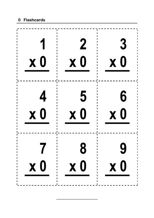 Multiplication Flash Card Template