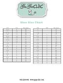 Ga Ga Chic Shoe Size Chart