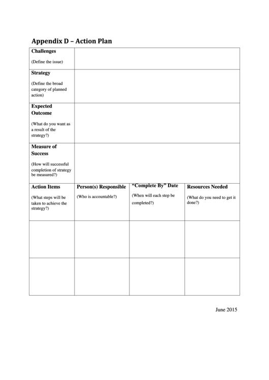 Action Plan Worksheet Template