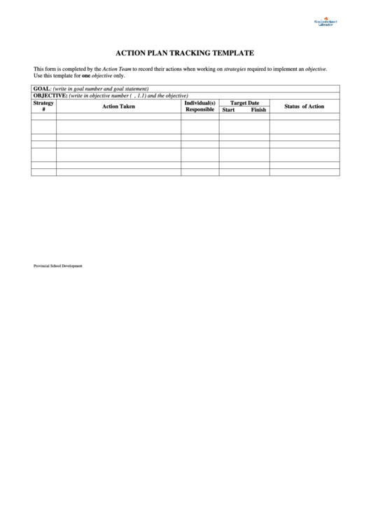 Action Plan Tracking Template Printable pdf