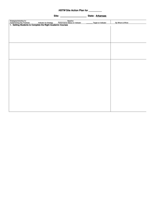 Hstw Site Action Plan Printable pdf