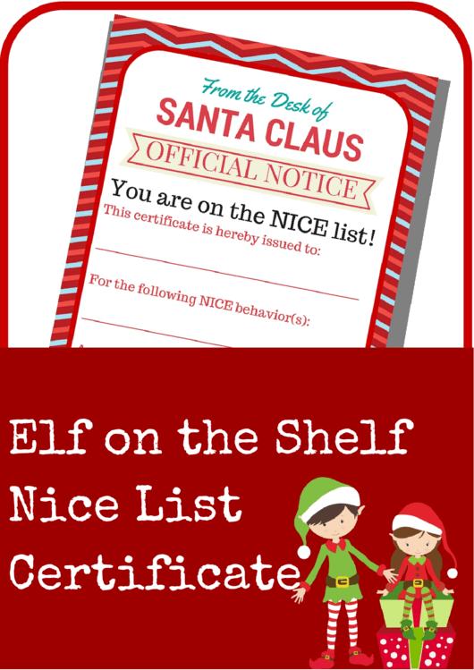 Elf On The Shelf Nice List Certificate Template