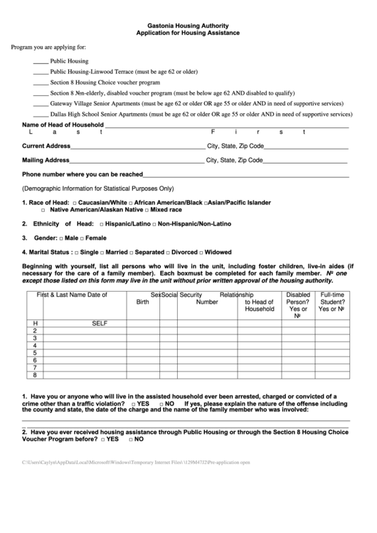 application for housing assistance pdf